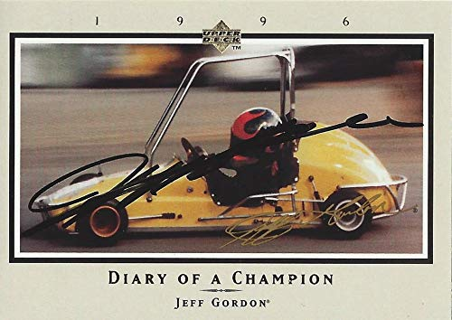 AUTOGRAPHED Jeff Gordon 1996 Upper Deck DIARY OF A CHAMPION (Childhood Midget Racing) Hendrick Motorsports Vintage Signed Collectible NASCAR Trading Card with COA and Toploader