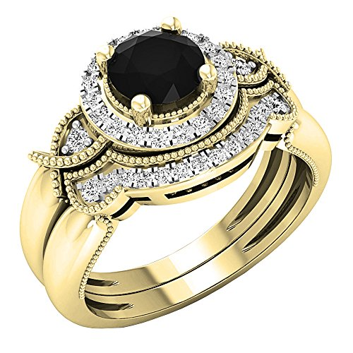 1.10 Carat (ctw) 10K Yellow Gold Round Black & White Diamond Ladies Engagement Ring Set 1 CT (Size 8)