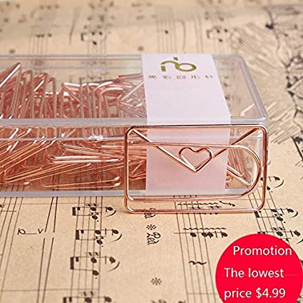 10pcs/pkg electroplating luxury rose gold paper clip creative ...