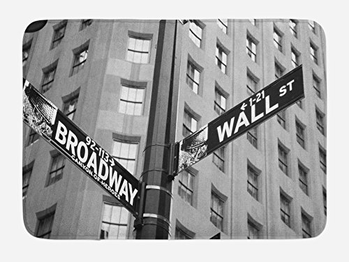 """Ambesonne New York Bath Mat, Street Signs of Intersection of Wall Street and Broadway Finance Destinations, Plush Bathroom Decor Mat with Non Slip Backing, 29.5"""" X 17.5"""", White Black"""
