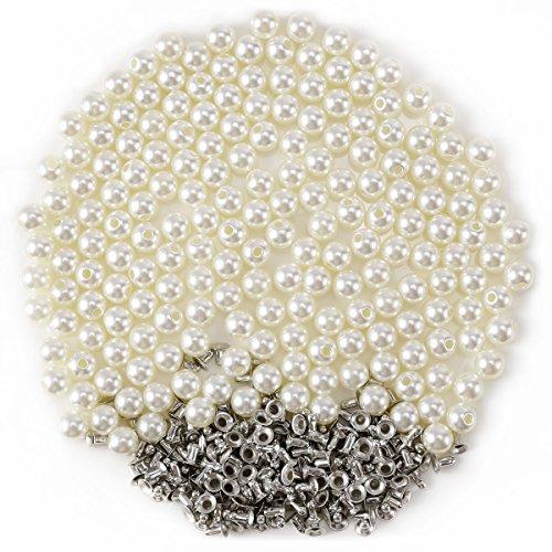 Anladia Lots Pearls Rivets Studs Buttons Embellishment Wedding Dress Jeans Hat Bag Purse 200pcs 10mm