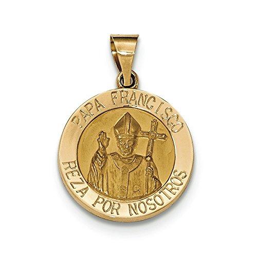 Or 14ct brossé et poli creuse Papa Francisco Médaille Pendentif