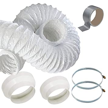 5m Air Con Ducting - portable Air Conditioner Venting Duct Hose Extension  Kit with 2 Reducer Adaptors and Steel Clamps
