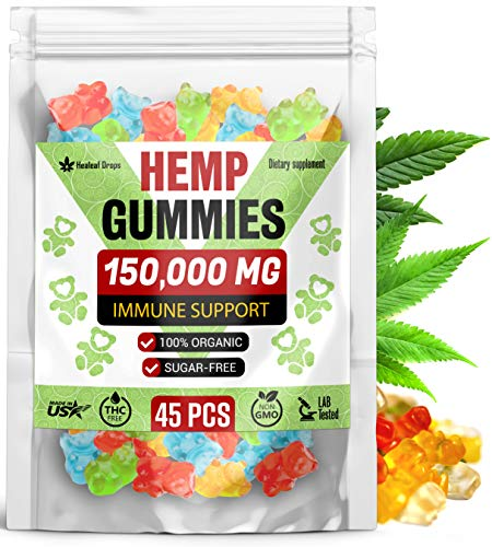 Premium-Hemp-Gummies-150000MG-High-Potency–Organic-Sugar-Free-Hemp-Oil-Bears-for-Anxiety-Stress-Relief–Improve-Sleep-Mood-Reduce-Inflammation–Efficient-for-Pain-Relief-Joint-Mobility