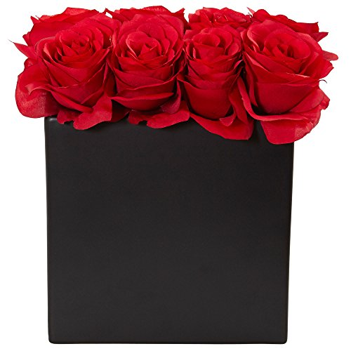 Nearly Natural Roses Silk Arrangement in 9