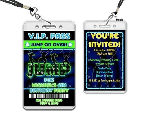 Neon Boy JUMP VIP Pass Lanyard Birthday Invitation Trampoline Park -