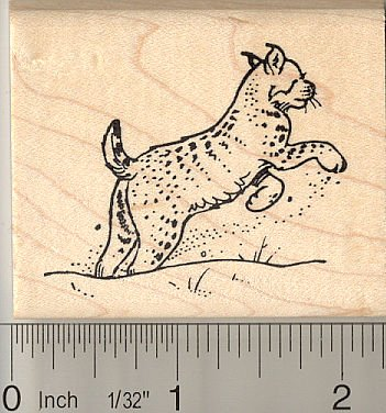 Leaping Bobcat Rubber Stamp