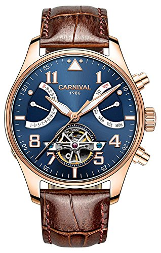 (Swiss Brands Men's Automatic Self Wind Mechanical Watch Skeleton Luminous Big Face Stainless Steel Calfskin Leather (Brown Band-Rose Gold Bezel-Blue Dial))