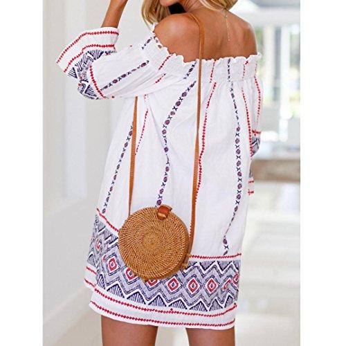 de Mini Paolian Femme Robe paule Froide Robe Plage Demi Blanc Bohme Manchon 558xnZ