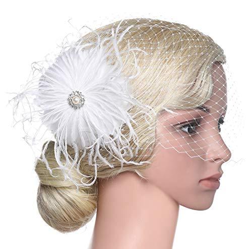 BABEYOND Bridal Wedding Fascinator Mesh Feather Fascinator Hair Clip Hair Fascinator Veil Crystal Wedding Veil (A-White) -