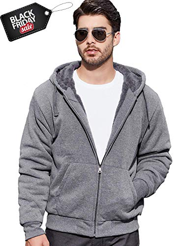 GEEK LIGHTING Men's Zipper Up Fleece Hooded Sweatshirt Adult Pullover Sweatshirt Dark Grey XXX-Large - Hooded Sweatshirt With Zipper