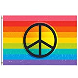 Retro Rainbow Flag Summer Spring Decorative Flag 4x6 Feet with Brass Grommet Double Stitch Gay Pride Peace Love Sign Banner Garden Flag House Decorations for Indoor Outdoor Home Boat