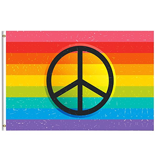 Retro Rainbow Flag Summer Spring Decorative Flag 3x5 Feet wi