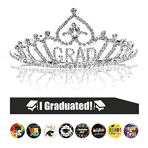 Konsait Graduation Party Supplies, Graduation Princess Grad Tiara & Graduated Sash & Graduation Button Pin(8pcs) for Grad Party Gift Idea Graduation Party Decorations Decor Favors Ornament -