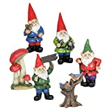 Exhart Gnome Outdoor Figurine Garden Statues, Resin, Set of 6, Includes Four Gnomes, Tree Trunk, Toadstools For Sale