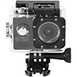 Acouto Wifi Waterproof Camera 12MP 1080P HD Sport Camera 170 Degree Ultra Wide Angle Len,Removeble Battery with US Plug Accessories Kits (black)