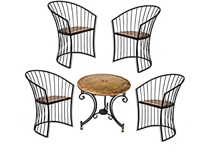 Aafiya Handicrafts Wooden Wrought Iron Outdoor Set 4 Chairs 1