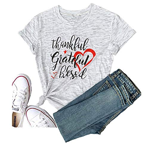Eating Tacos Two Thankful Grateful Blessed Love Heart Thanksgiving Women Casual T-Shirt Short Sleeve Tops Tee (Medium, White)