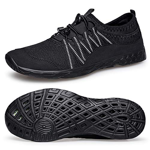 Water Sports Shoes Mens Quick-Dry Water Shoes Barefoot Slip-on for Swim Beach Pool Surf All Black 40 EU