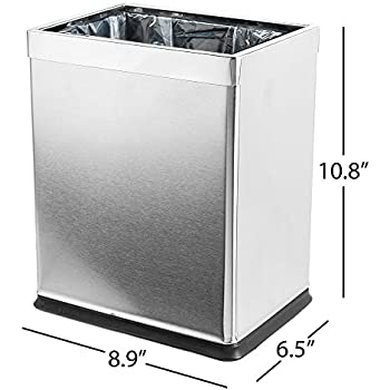 Amazon Com Dwba Square Open Top Trash Can Stainless