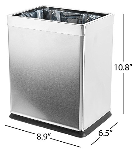 Dualplex 'Invisi-Overlap' Open Top Trash Can, Small Office Wastebasket, Modern Home Décor, Rectangle Shape Stainless Steel
