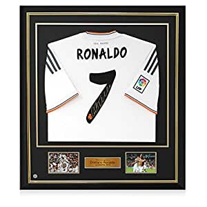 Bienes camiseta de fútbol de Madrid, firmada por Cristiano Ronaldo, lujo enmarcado