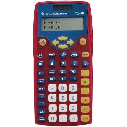 Texas Instruments TI-10 Elementary Calculator - Plastic Key, Impact Resistant Cover - 2 Line(s) - 12 Digits - Battery/Solar Powered - 1 Each by Texas