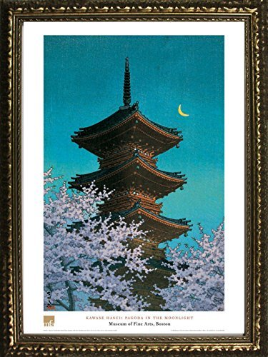 (Framed Pagoda in The Moonlight by Kawase Hasui 28x20 Art Print Poster Famous Painting Japan Temple Purple Trees Crescent Moon from Museum of Fine Arts Boston Collection)