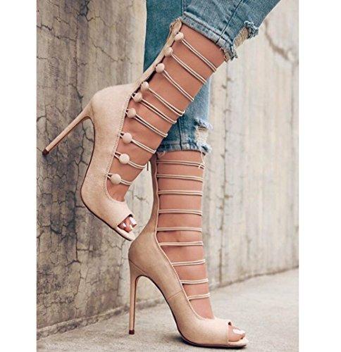 Damen Sandalen Sandaletten Heel High High Fischkopf Buckle Spangen elastische Pumps hohlen Heels WSK apricot Damen Bequeme dFwq5x67a
