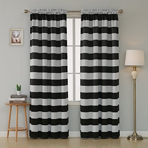 Deconovo Striped Room Darkening Curtains Rod Pocket Black and Greyish White Striped Curtains for Living Room 52W X 95L Black 2 Panel Curtains