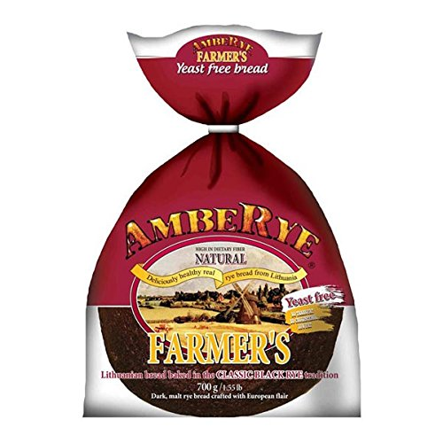 Sweet Yeast Breads - Lithuanian AmbeRye Yeast FREE Farmer's Bread - All Natural Whole Grain Imported Rye Bread, 24.7 oz/700 g