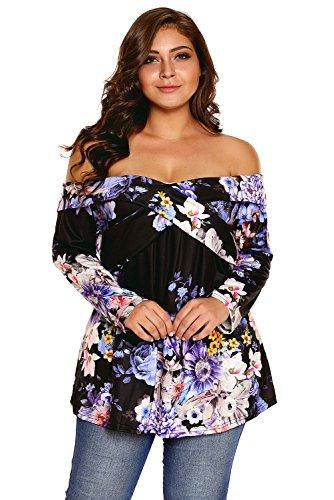 Neuf Noir Floral Off épaule CrissCross manches longues Blouse de soirée pour femme Tenue décontractée dété Taille UK 16EU 44