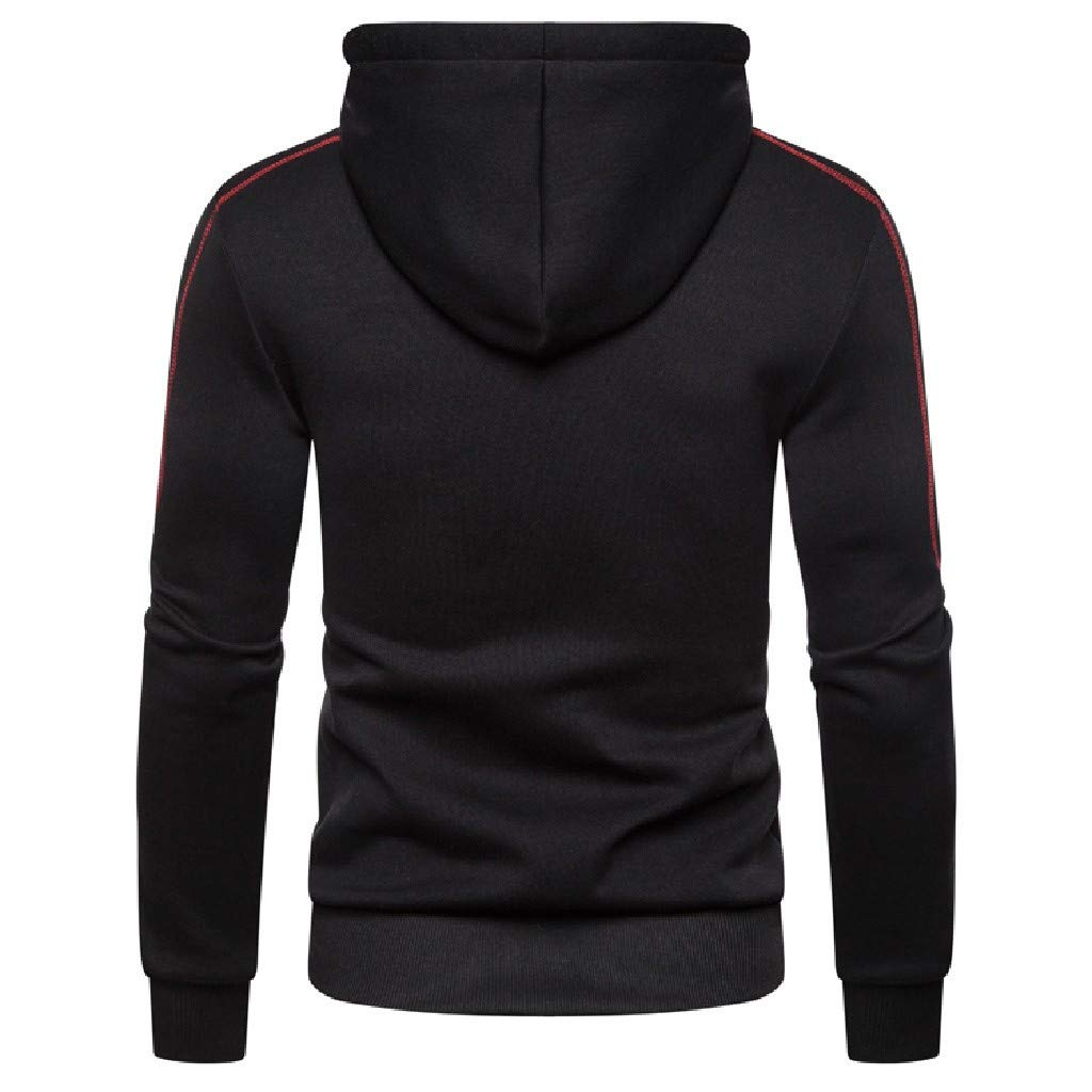 Mens Casual Long Sleeve Solid Zipper Sports Outwear Hooded Sweatshirts Multi-Pockets Mens Hoodies Pullover