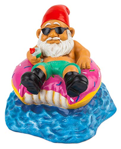 - BigMouth Inc Donut Worry Be Happy Garden Gnome, 7-inch Tall Funny Lawn Gnome Statue, Garden Donut Decoration