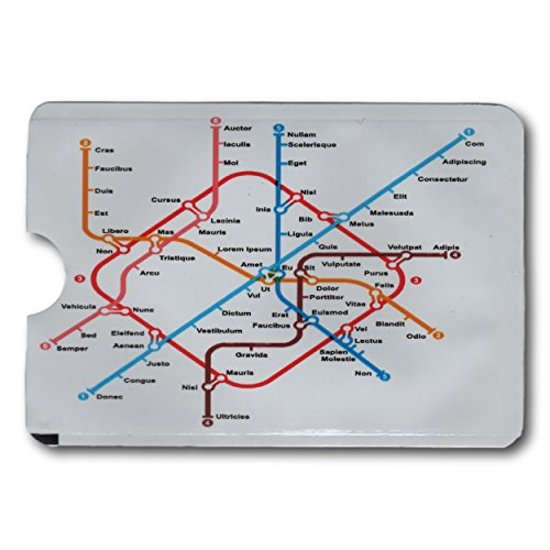 EPOSGEAR Underground Map Design Card Minder RFID Blocking Anti Theft Secure Protector Sleeve Holder Wallet for Credit / Debit / ID / Oyster Cards - Prevent Fraud, Theft, Accidental and Clash Payments (Payment Card)