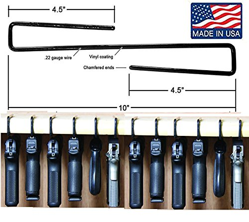 Gun Storage Pack of 12 Original Handgun Hangers (Hand made in USA)