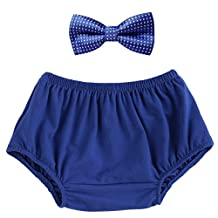 Baby Boys Cake Smash Outfit Bloomers Bowtie Set /Bow Ties - Various Designs Royal Blue One Size