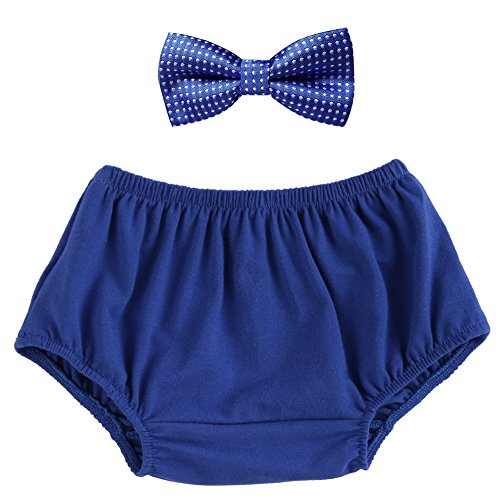Blue Bloomers - Baby Boys Cake Smash Outfit Bloomers Bowtie Set/Bow Ties - Various Designs Royal Blue One Size