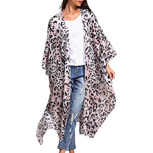(Women Fashion Leopard Print Beach Swimsuit Smock Sheer Loose Cardigan)