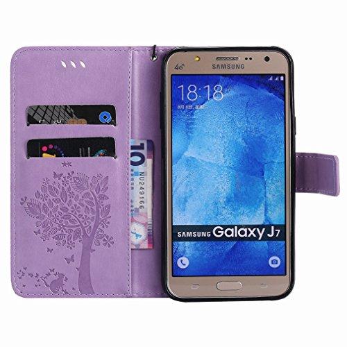Yiizy Samsung Galaxy J7 / J700F Custodia Cover, Albero e Gatti Goffratura Design Sottile Flip Portafoglio PU Pelle Cuoio Copertura Shell Case Slot Schede Cavalletto Stile Libro Bumper Protettivo Borsa
