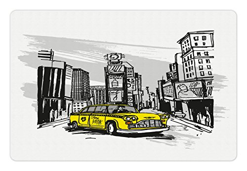 Ambesonne Sketchy Pet Mat for Food and Water, Yellow Hand Drawn Cab in New York Street Cityscape American Urban Life Art, Rectangle Non-Slip Rubber Mat for Dogs and Cats, Black Taupe Yellow ()