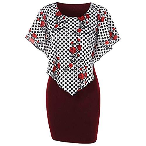 Womens Chiffon Plus Size Casual Floral Polka Dot Print Crewneck Ruffles Mini Dress Wine