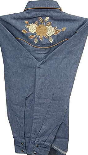 Women's Long Fitted Sleeved Denim Camisa Western Embroidered Vaquera Blue Modestone Floral dqw7aSd