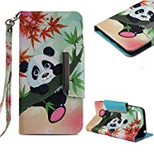 Cistor Wallet Case Huawei Y5 2018/Y5 Prime 2018,Stylish Bamboo Panda Painted Strap Stand Flip Case Huawei Y5 Prime 2018,Book Design Shockproof PU Leather Case Card Slot Magnet Closure