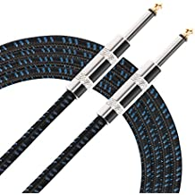 Donner Guitar Cable 10 ft, Premium Electric Instrument Bass Cable AMP Cord 1/4 Straight Black Blue