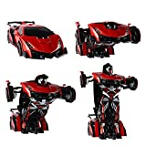 SainSmart Jr. RC Transformation Robot Car, Action Deformation Figure, Shape-shift Model Car, One-Touch Transforming, Red [BALCK FRIDAY DEALS]