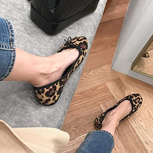 Net Rosse Bocca New Primavera Singole Donna Scarpe Piselli Superficiale Sera 39 Da Bow Sandali Selvatici Piatto 2019 Leopard qavC8aw6x