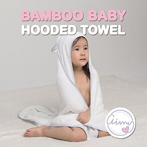aimy baby organic bamboo hooded bath towel | soft, breathable, absorbent, bacterial, odor & mold resistant | for newborns & infants, boys & girls with sensitive skin | best baby shower gift