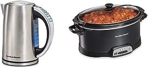 Hamilton Beach Temperature Control Electric Tea Kettle, Water Boiler & Heater, 1.7L & Portable 7-Quart Programmable Slow Cooker With Lid Latch Strap, Black (33474)
