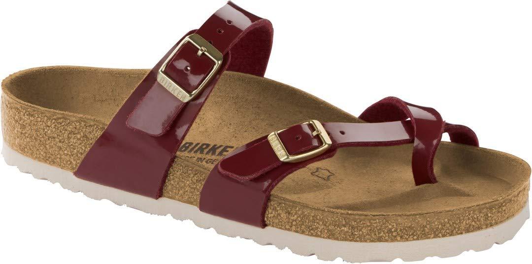 Birkenstock Womens Mayari Strappy Birko-Flor Twin Buckle Patent Sandals - Bordeaux - US10/EU41